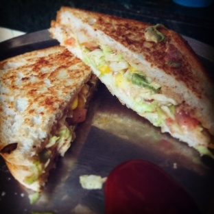 Cheese mayo corn capsicum cabbage sandwich @Andheri East